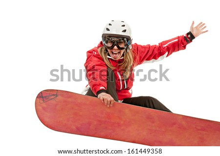 Female snowboarder jumping, isolated on white background - stock photo