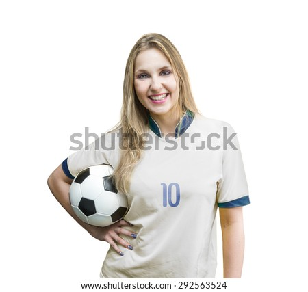 Female soccer fan on white and blue uniform on white background - stock photo