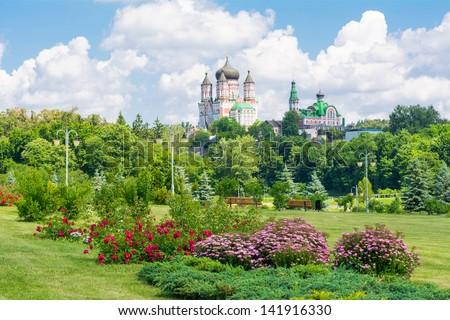 Female St. Panteleimon Monastery in the park Feofania. Kiev, Ukraine - stock photo