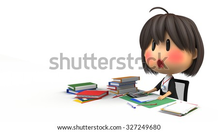 Female staff that blush in desk work - stock photo