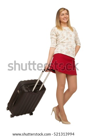 female standing with black suitcase isolated on white background