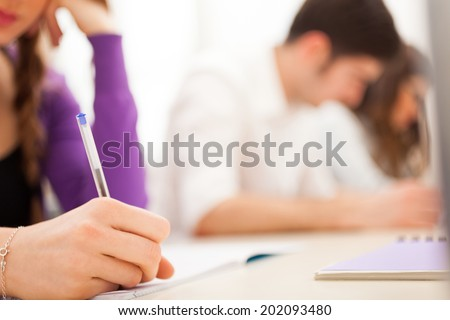 Female student at work - stock photo