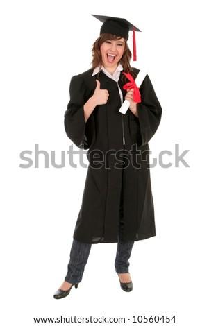 Female student graduating - stock photo