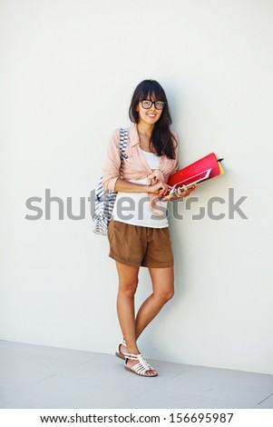 female student in interior of collage
