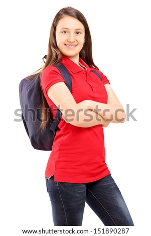 Female student with backpack looking at camera isolated on white background