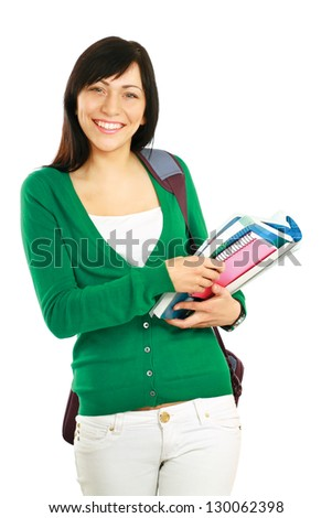 Female student with books , isolated on white background - stock photo