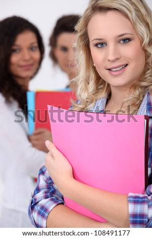 Female student with files