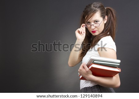 female student with her books