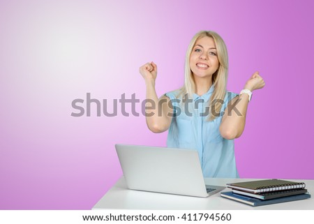 female student with laptop - stock photo