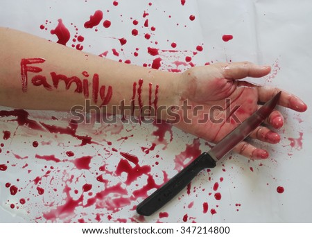 Female suicide with family messages on the arm ,Vintage style - stock photo