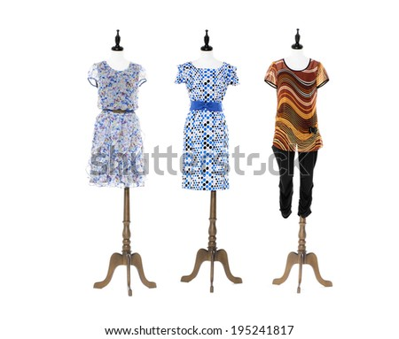 female sundress with on three mannequin on white background