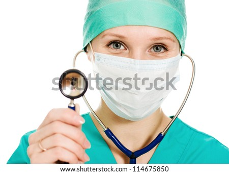 Female surgeon with a stethoscope in hand on a white background.