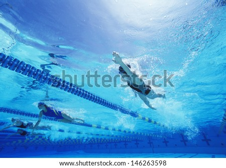 Female swimmers swimming in pool - stock photo