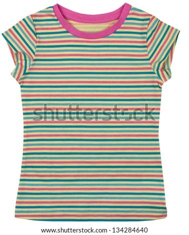 female t-shirt isolated on white background - stock photo