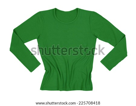 female t-shirt with long sleeves isolated on white background  - stock photo