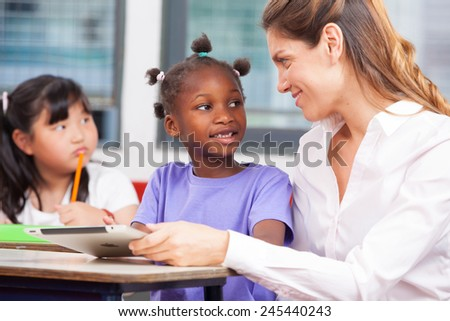 Female teacher in primary school explaining to afroamerican and asian student.