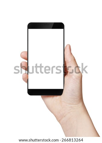female teen hand hold digitally created generic smartphone with big screen, isolated