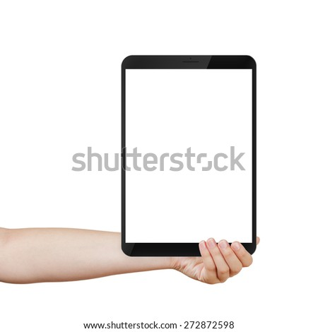 female teen hand holding generic tablet pc with white screen, isolated - stock photo