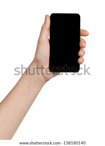 female teen hand holding generic touch device, isolated in white with black screen - stock photo