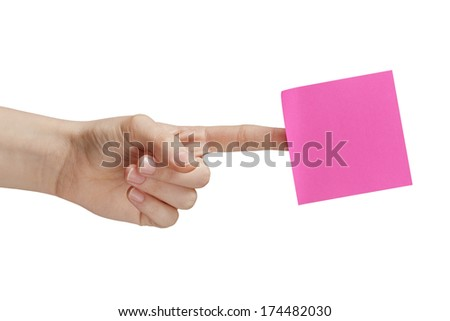 female teen hand holding purple sticky note, isolated on white