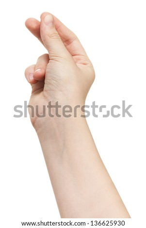 female teen hand holding something, isolated on white - stock photo