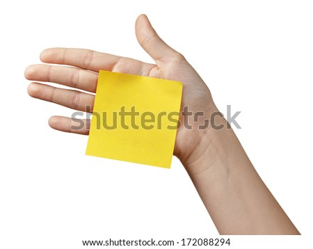 female teen hand holding sticky note, isolated on white