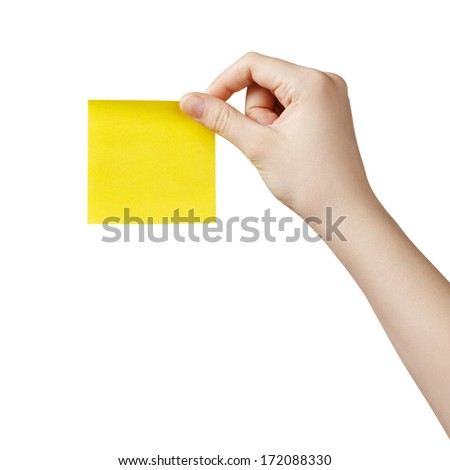 female teen hand holding sticky note, isolated on white - stock photo