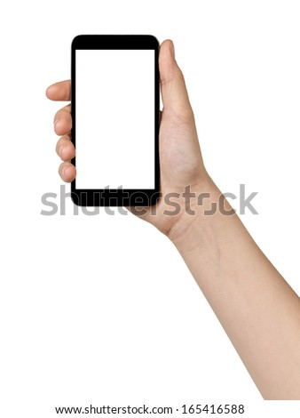 female teen hand holding touch device, isolated in white with white screen - stock photo