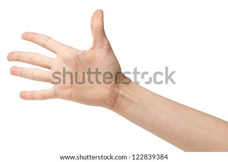 female teen hand says hello, isolated on white - stock photo