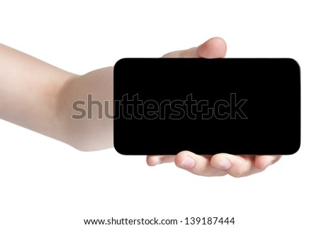 female teen hand showing generic touch device, isolated in white with black screen