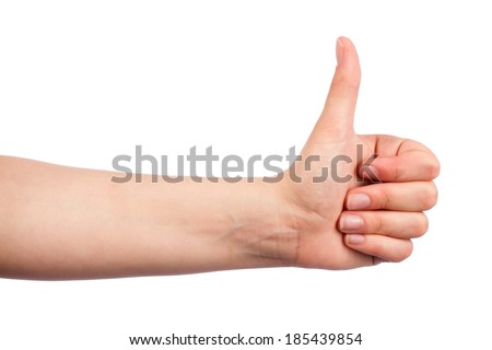 Female teen hand shows thumbs up