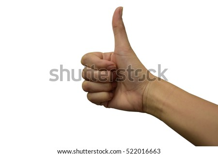 female teen hand shows thumbs up, on white background.