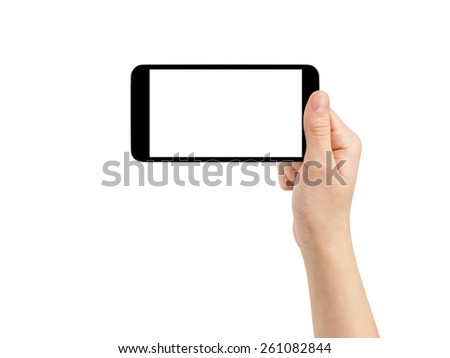 female teen hand taking photo with generic smartphone, isolated - stock photo