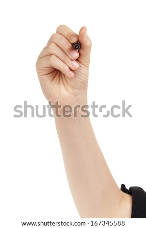 female teen hand to write something on white board, isolated - stock photo