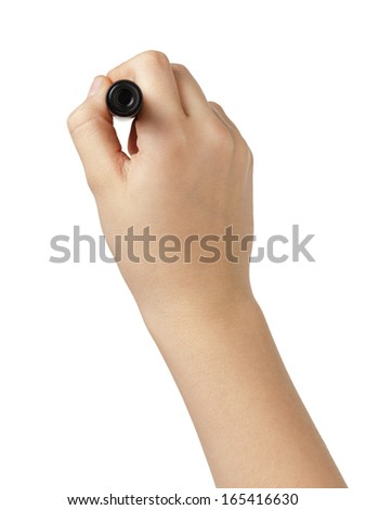 female teen hand to write sommething with black marker, white background - stock photo