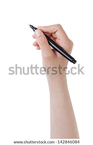 female teen hand writing something with pen or marker, isolated - stock photo