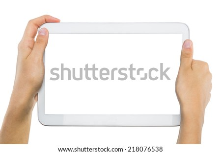 female teen hands holding generic tablet pc, isolated - stock photo