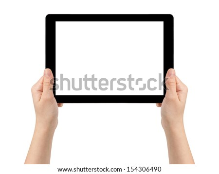 female teen hands holding generic tablet pc with blank screen, isolated - stock photo
