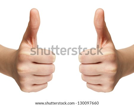 female teen hands shows thumbs up, isolated on white - stock photo