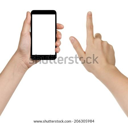 female teen hands using generic smarpthone, isolated on white - stock photo
