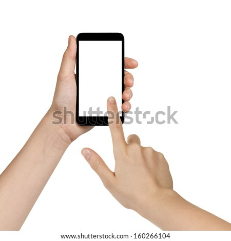 female teen hands using mobile phone with white screen, isolated - stock photo