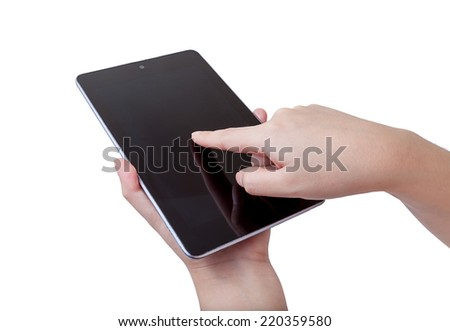 female teen hands using tablet pc  - stock photo