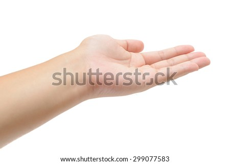 female teen left hand to hold something, isolated on white