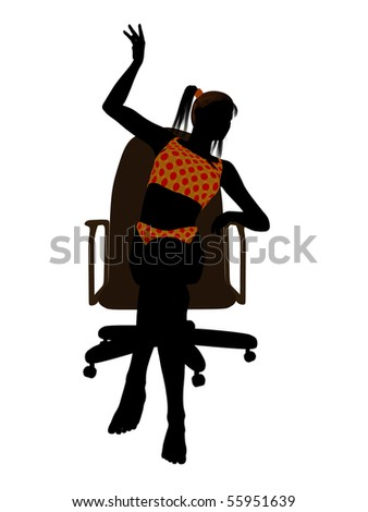Female teen wearing a swimsuit sitting in an office chair illustration silhouette on a white background