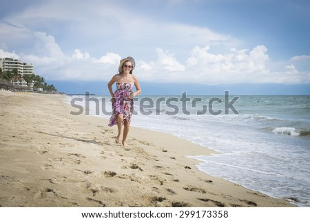 Female teenager on beach