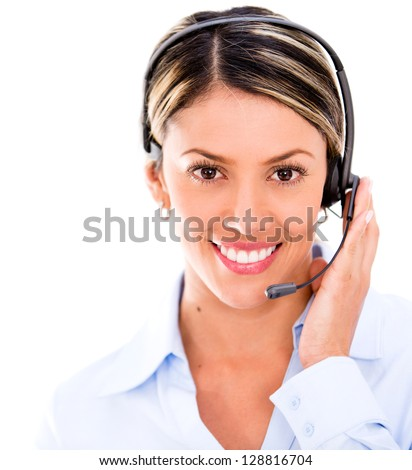 Female telemarketing agent wearing a headset - isolated over white - stock photo
