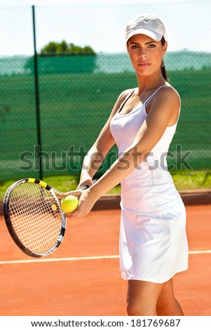 Female tennis player at tennis court