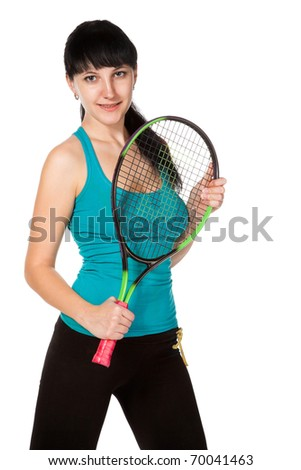 female tennis player isolated on white background - stock photo