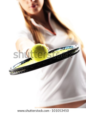 Female Tennis Player on white background - stock photo