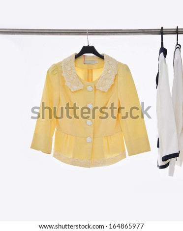 female three clothing on hangers